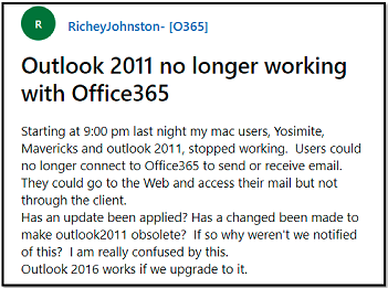 outlook 2011 user query