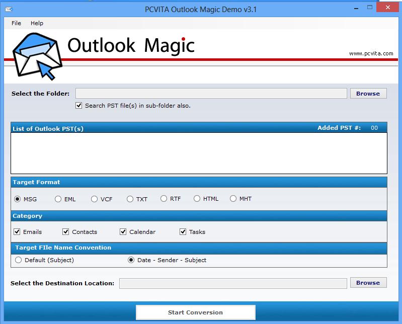 Convert PST to EML, MSG, RTF, VCF, HTML & TXT - Outlook