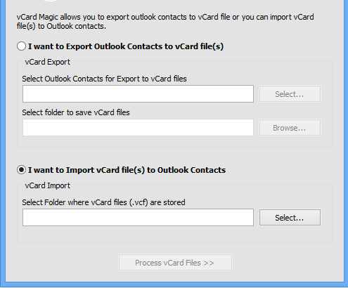 select import vcard file